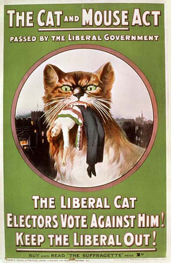 Suffragette Poster against The Cat & Mouse Act 1913