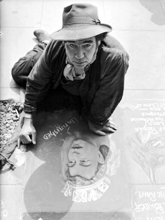 pavement artist Joseph Lee in Knightsbridge London. PICTURE POST photo: 1953