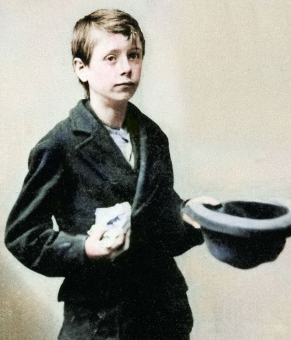 James Carling as a boy with his bag of chalks: Liverpool, circ 1869
