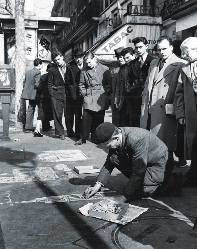 United Press photo (New York) Pavement artist in Paris taken on 8th May 1955