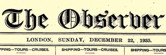 Observer Masthead: 22nd December 1935