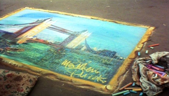 Pavement art of Tower Bridge: signed by Mathew Quick 1972 (original artist unknown)