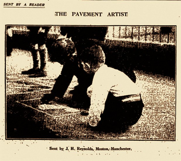 MANCHESTER PAVEMENT ARTIST: Original Press Cutting, 1930