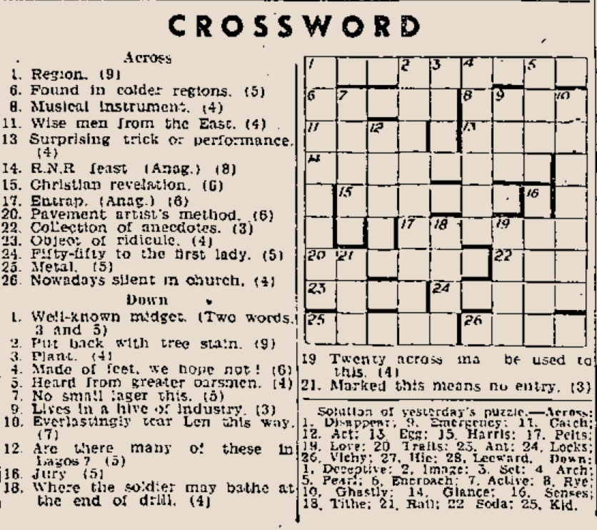 Daily Express Crossword: Published Wed. 25th Feb. 1942 (click to ...
