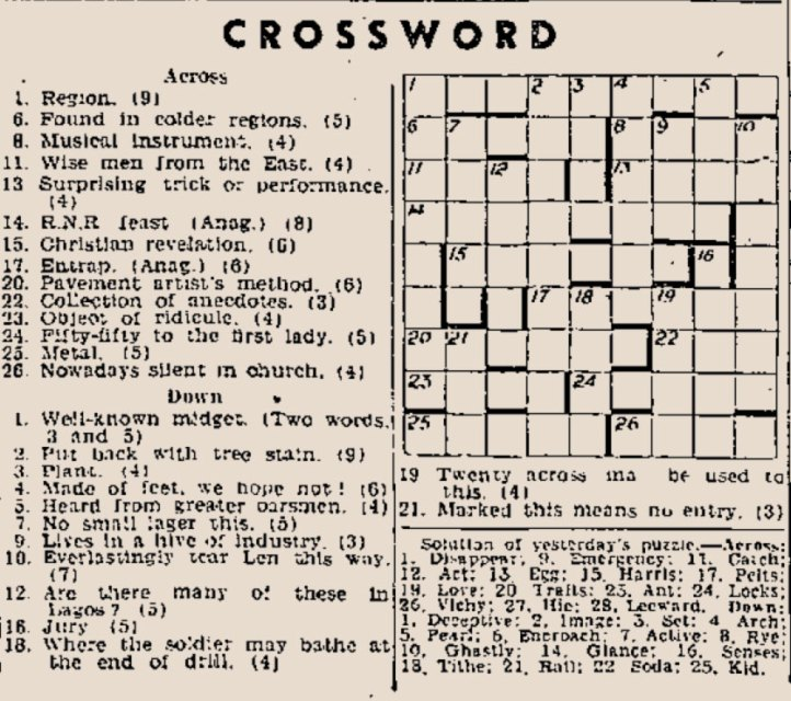 Daily Express Crossword: Published Wed. 25th Feb. 1942