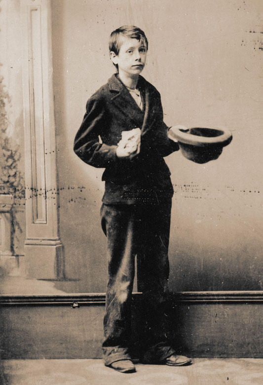 James Carling as a boy pavement artist in Liverpool: circ. 1869