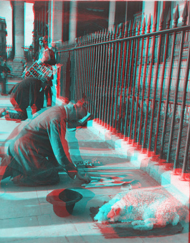 London Pavement Artist AF Harris in 3D (Red & Cyan Anaglyph glasses need) 1930