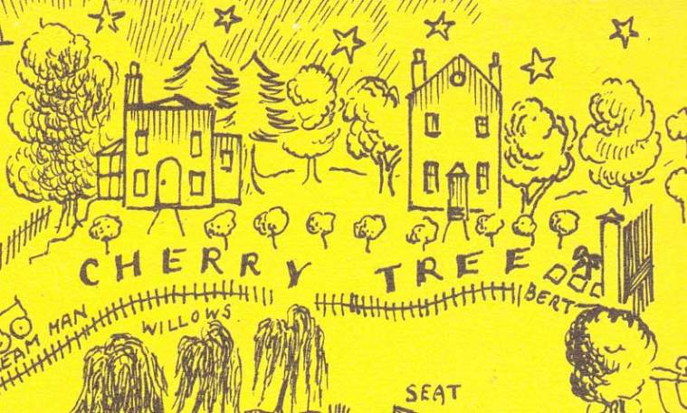 "MARY POPPINS IN THE PARK: Berts ""pitch"" on Cherry Tree Lane; Illustration by Mary Shepard 1954"