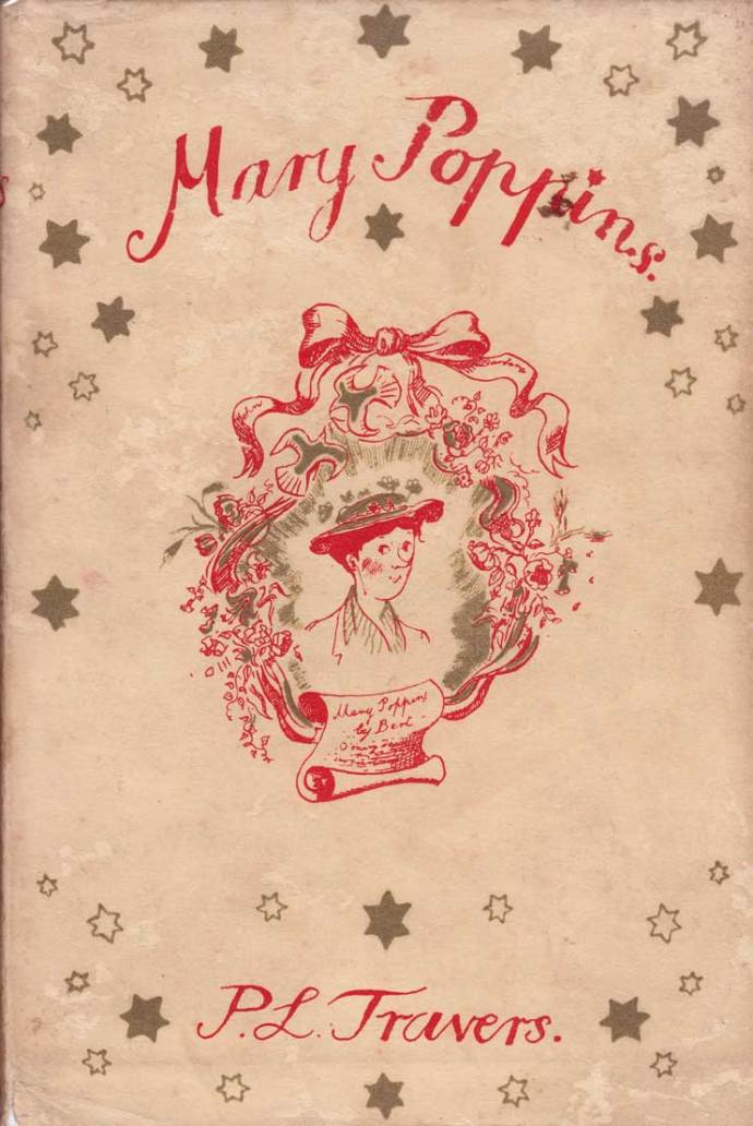 MARY POPPINS: Original first edition dust cover illustration by Mary Shepard, 1934