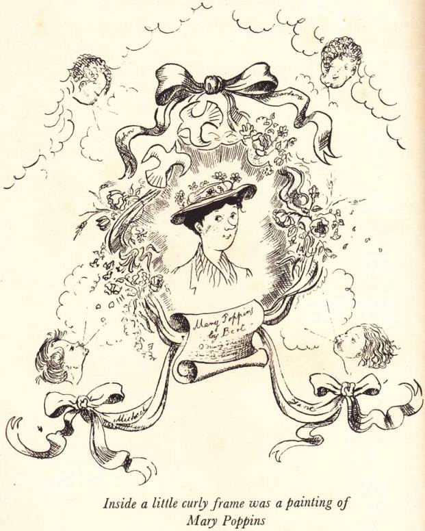 Mary Poppins as drawn on the pavement by BERT: illustration by Mary Shepard: 1934