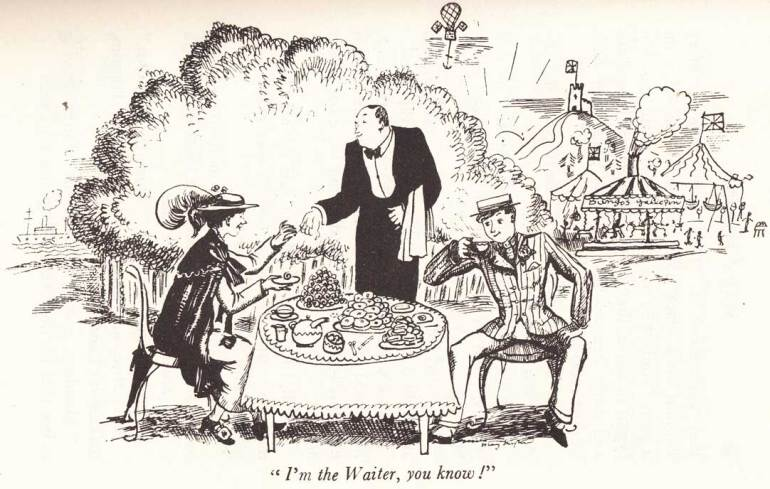 MARY POPPINS-Berts & Mary jump into the chalk drawings and go on a 'Jolly Holiday': Illustration by Mary Shepard 1934