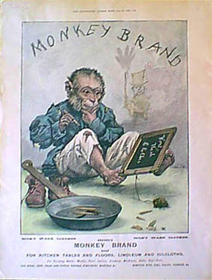 Monkey Brand Soap Advert: hand-tinted in colour 1899