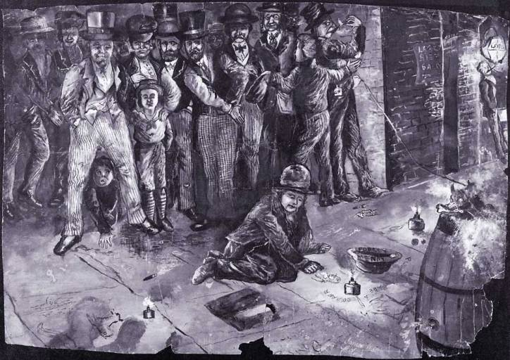 Liverpool boy pavement artist James Carling; self potrait: Screeving by night cir. 1867