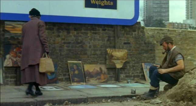 Movie Still: Pavement Artist scene with David Lodge as The Workman