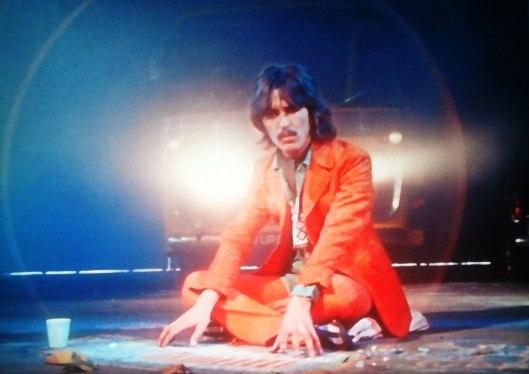 Magical Mystery Tour: film still, George Harrison playing chalk organ 1967