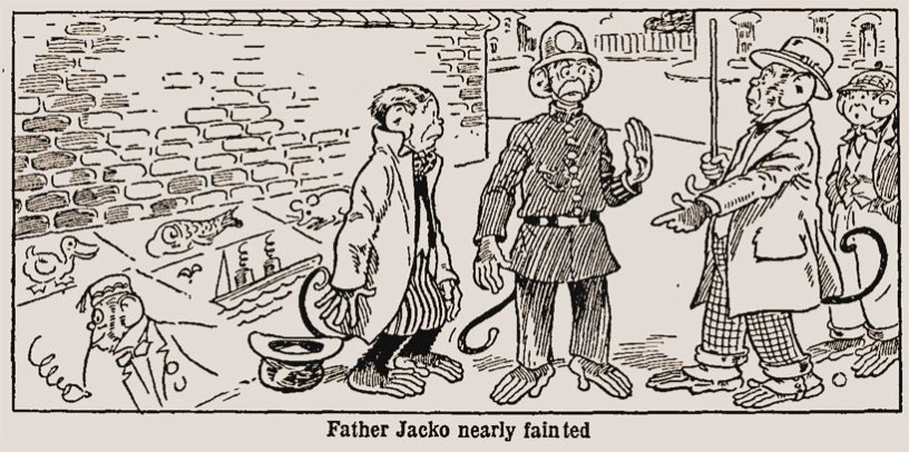 Illustration from The Children's Newspaper: Father Jacko, 1925