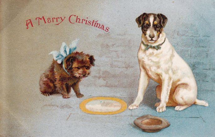 Dogs pavement artist postcard 1904