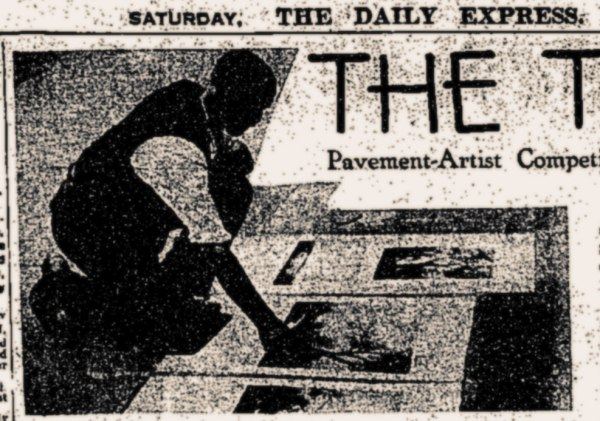 W J Stubbs: Talk of the Town Pavement art competition winner 1932