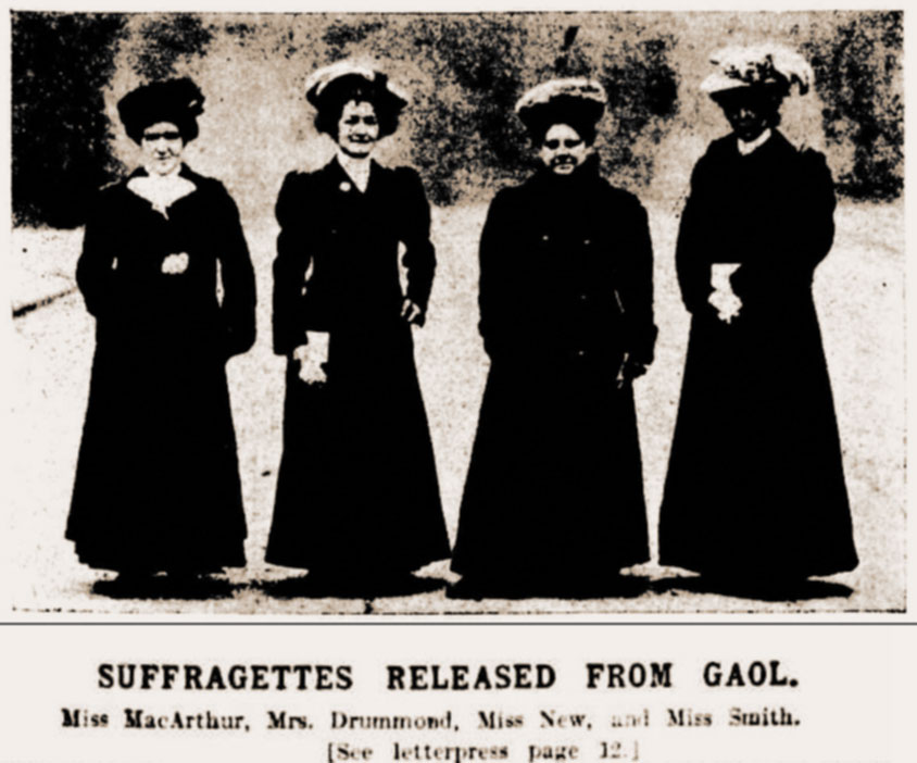 Suffragette chalkers released from the Gaols 1908