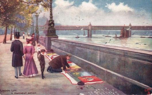 Victoria Embankment pavement artist: TUCK Oilette postcard Cir.1912