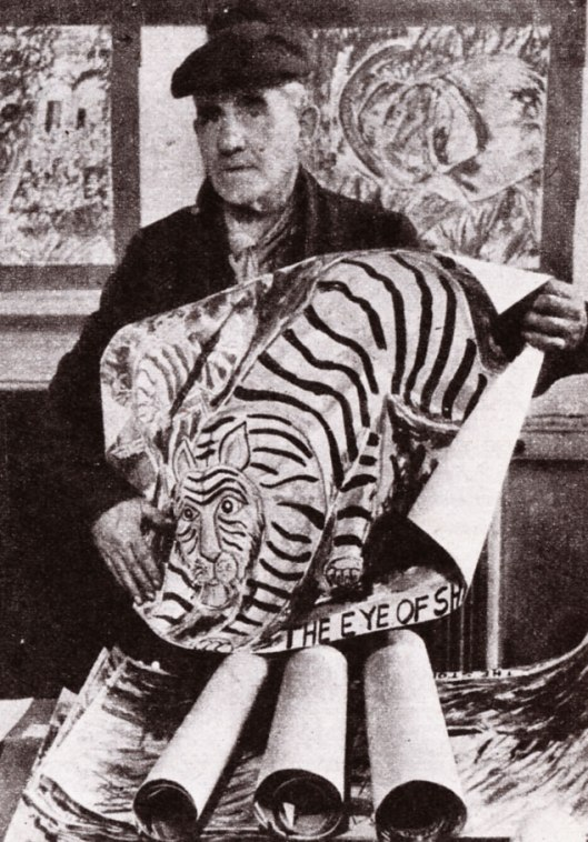 David Burton holding up one of his tigers which he draws again and again (PICTURE POST 1945)