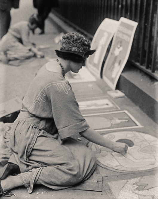 Girl pavement artists: Hyde Park Corner, London 1922
