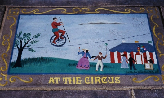 "AT THE CIRCUS - Peter Ellenshaw ""pavement painting"""