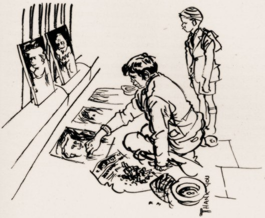 Pavement Artist illustration by Francis Marshall 1951.