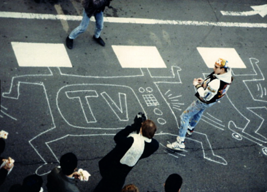 Elevated view of KEITH HARING at work in Japan 1985