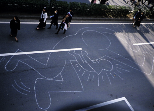 Overhead view of Keith Haring's chalk drawing. Photo by Juan Rivera of Roulette Fine Arts. 1985