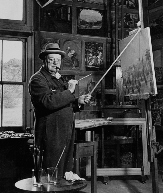 Churchill the Painter; in his studio at Chartwell House.