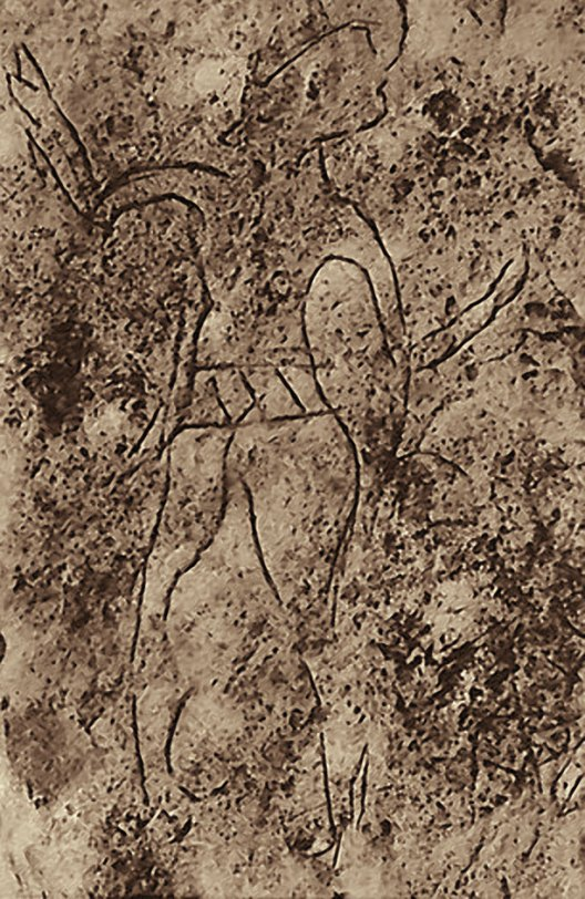 Human figure with hands upraised perhaps in a dance. Incised into the paving-stones at Megiddo.