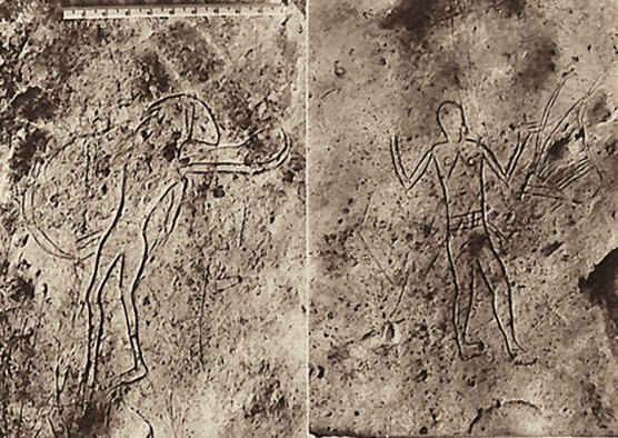 Human figures: Harpist with her instrument and right, a warrior or dancer.