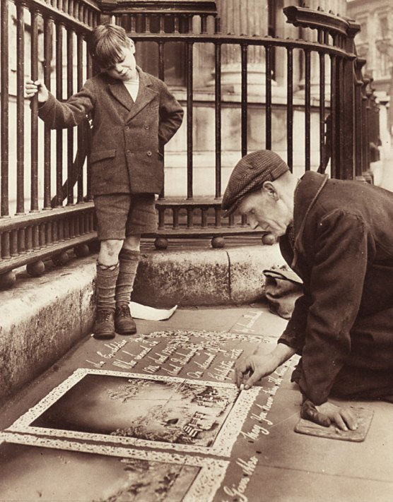 (watched by little Albert Elliot) George Hurd at his pitch outside the National Portrait Gallery, London 1952